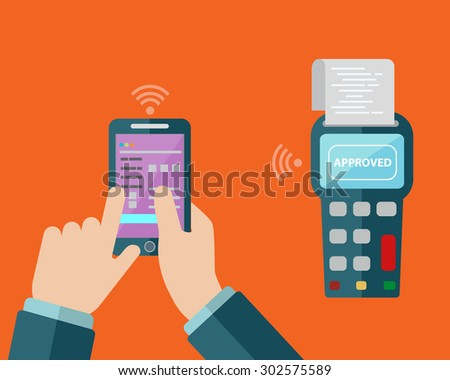 Illustration of mobile payment via smartphone - stock vector