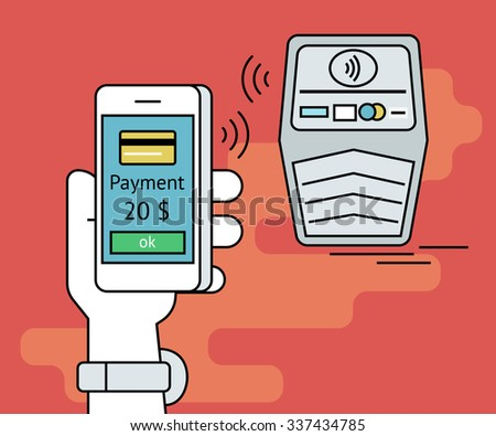 Illustration of mobile payment via smartphone. Human line contour hand holds a smartphone and doing payment by credit card via nfc function - stock vector