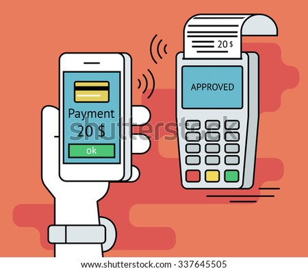 Illustration of mobile payment via smartphone. Human line contour hand holds a smartphone and doing payment by credit card wireless connecting to the payment terminal - stock vector