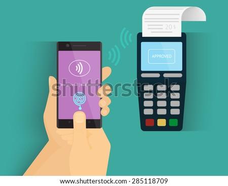 Illustration of mobile payment via smartphone using fingerprint identification. - stock vector