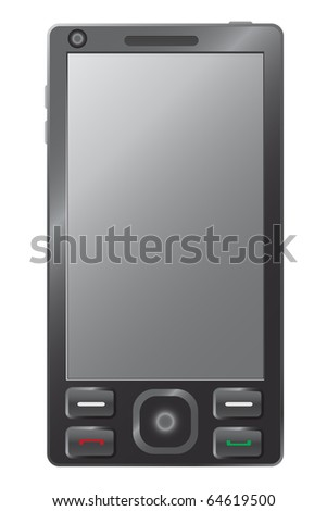 illustration of mobile phone on isolated background - stock vector