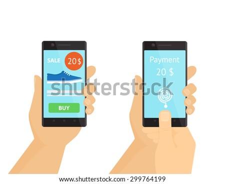 Illustration of mobile purchasing via smartphone using fingerprint identification. - stock vector