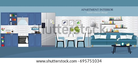 Illustration Of Modern Apartment Interior Design Kitchen Dining Room Living Flat