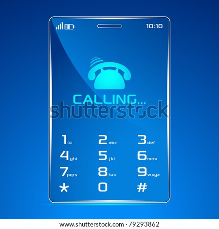 illustration of modern cell phone showing calling - stock vector