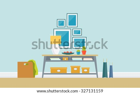 Illustration of modern hallway with console table, lamp, pictures. Creative concept interior with classic furniture . Flat design, minimalist style, icons set. Vector illustration - 10 EPS - stock vector