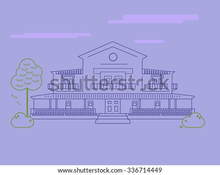 Illustration of modern house in linear flat style.  - stock vector