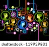 illustration of modern humans in a computer network. - stock photo