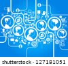 illustration of modern humans in a computer network - stock vector
