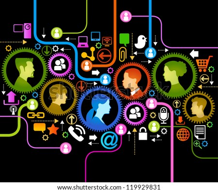 illustration of modern humans in a computer network. - stock vector