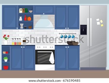 Modern Kitchen Equipment modern kitchen interior blue color theme stock illustration