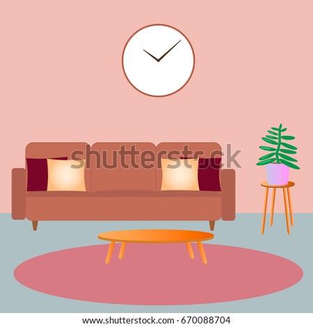 Illustration Modern Living Room Sofa Flower Stock Vector (2018 ...