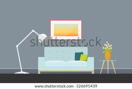 Illustration of modern living room with sofa, torchere and coffee table. Lounge concept interior with classic furniture . Flat design, minimalist style. Vector illustrator - 10 EPS - for your project - stock vector