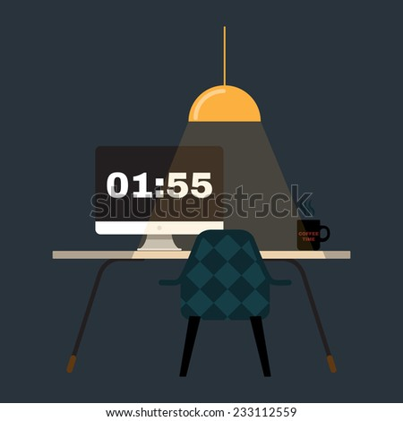 Illustration of modern office workspace. Flat minimalistic style. Creative office workspace.  - stock vector
