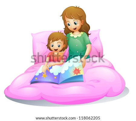 illustration of mom and kid sitting on a bed - stock vector