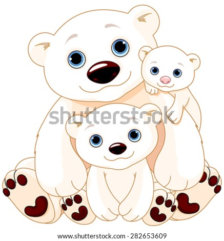 Illustration of Mommy and Daddy bears with their babies - stock vector