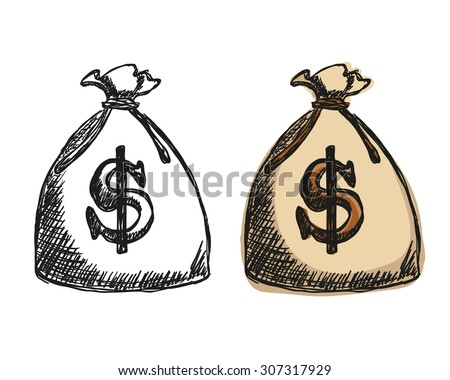 Illustration of money bag with dollars - doodle style - stock vector