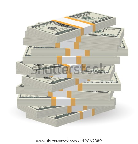 Illustration of money banknotes big stack over white background - stock vector