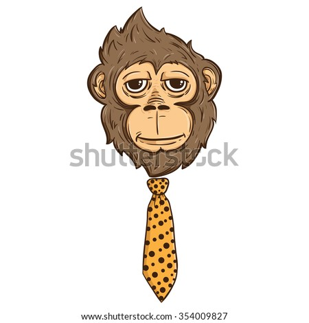 Illustration monkey face tie like boss stock vector 354009827 illustration of monkey face with tie like a boss also with line and color ccuart Image collections