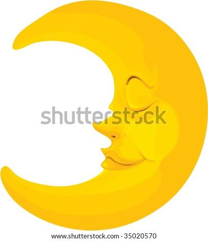 illustration of moon on white - stock vector