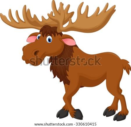 Illustration of moose cartoon - stock vector