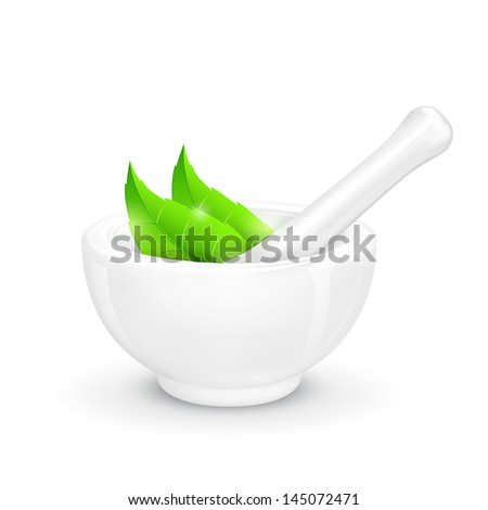 illustration of mortar and pestle with herbal leaf - stock vector