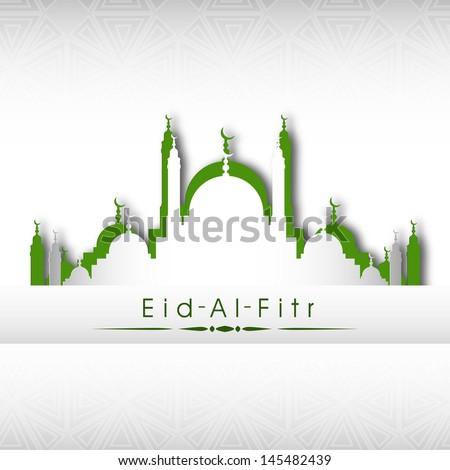 Illustration of mosque on grey background for Eid Al Fitr (Eid Mubarak) festival. - stock vector