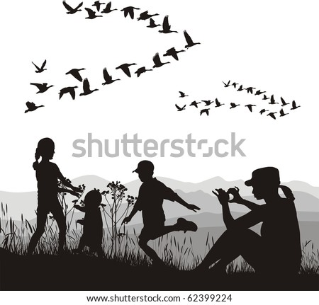 illustration of mothers and children and country trip in autumn - stock vector