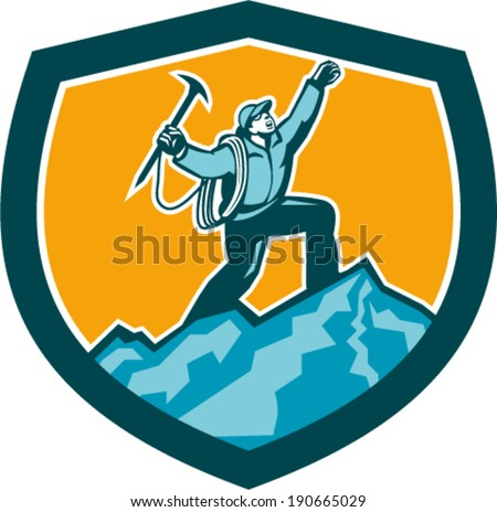 Illustration of mountain climber climbing reaching the summit celebrating holding ice axe set inside shield crest shape on isolated background done in retro woodcut style. - stock vector