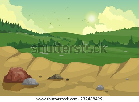 illustration of mountains landscape background vector - stock vector
