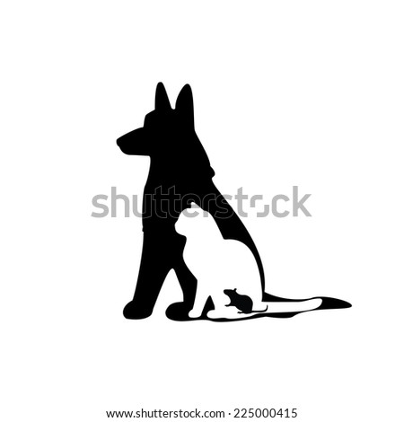Illustration of mouse, cat, dog, mouse silhouette, cat silhouette, dog silhouette