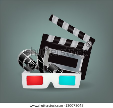 Illustration of movie objects with 3d glasses - stock vector