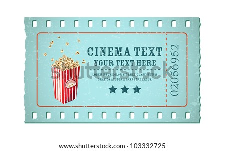 illustration of movie ticket in shape of film reel with popcorn tub - stock vector