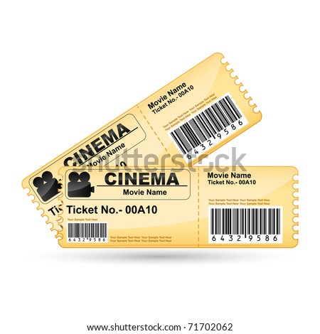 illustration of movie ticket on isolated white background - stock vector
