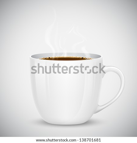 illustration of mug with hot coffee - stock vector