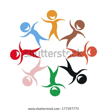 Illustration of multi ethnic group of stylized children silhouettes - stock vector