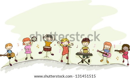 Illustration of Multi-racial Kids playing different musical instruments - stock vector