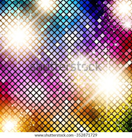 Illustration of Multicolored Bright Disco Background - stock vector