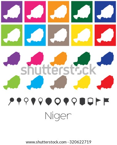 Illustration of Multiple Colours with Pointers of the map of Niger