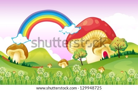 Illustration of mushrooms near the rainbow