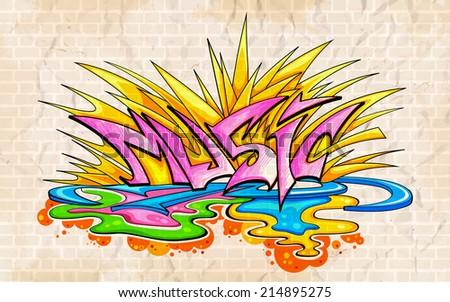 illustration of music background graffiti style - stock vector