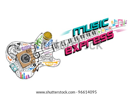 illustration of music doddle in shape of guitar - stock vector