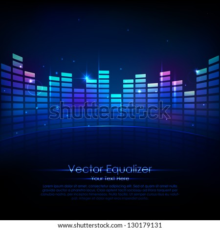 Illustration of music equalizer bar in shiny background