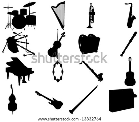 Illustration of music instruments - stock vector