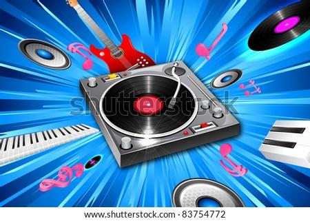 illustration of music jockey equipment on abstract background - stock vector