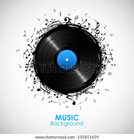 illustration of music note from disc for musical background - stock vector