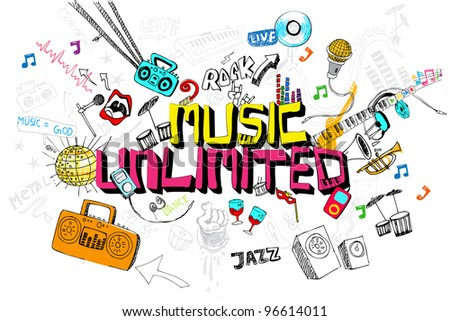 illustration of music unlimited doodle with colorful element - stock vector