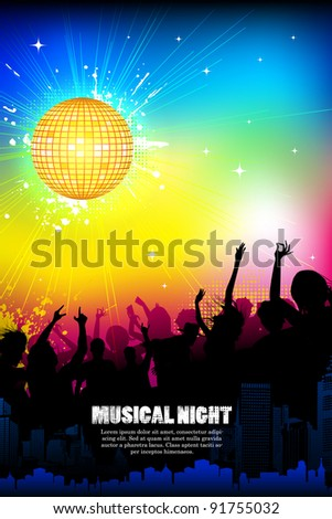 illustration of musical background with cheering crowd in disco night - stock vector