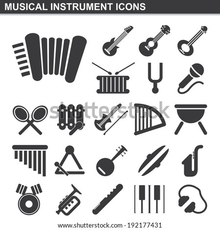 illustration of musical instrument icons set