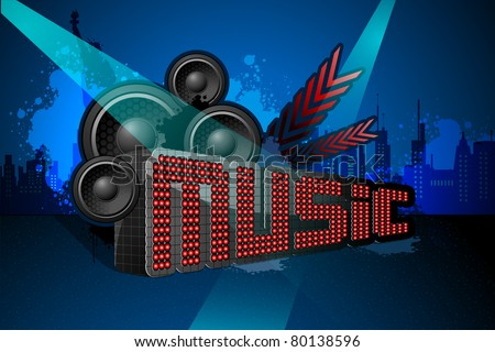 illustration of musical night in town scape with statue of liberty - stock vector