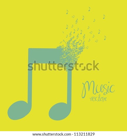 illustration of musical note forming with small musical notes, vector illustration - stock vector